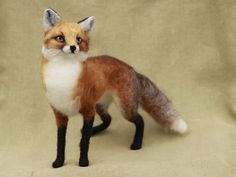 Needle felted red fox, Made to order, poseable felted woodland animal