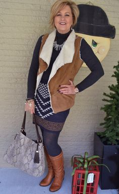 Fashion over 40 for the everyday woman.  Shearling vest, sweater skirt and Stella & Dot @50isnotold.com