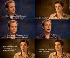 Billy and Orlando's first meeting on the set of LOTR. Could you imagine how wonderful this would be?