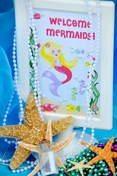 Printable Under The Sea Mermaid Birthday Sign  #UnderTheSea #Mermaid