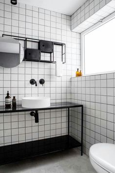Basic/budget bathroom concept white with black lining