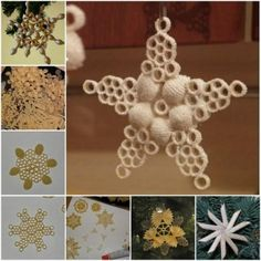 How to DIY Pasta Snowflake Ornament for Christmas | www.FabArtDIY.com LIKE Us on Facebook ==> www.facebook.com/...