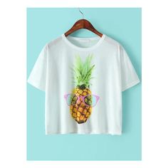SheIn(sheinside) White Short Sleeve Pineapple Print T-Shirt ($8.99) ❤ liked on Polyvore featuring tops, t-shirts, white, white tee, white cotton tops, white t shirt, white top et white cotton tee