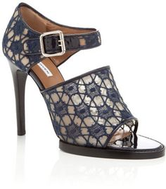 Carven Navy Lace Mary Jane Sandal Carven