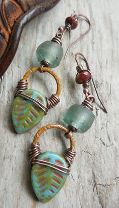 Southwest Aspen Leaf Earrings Turquoise Olive Green by lunedesigns, $37.00