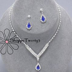 Silver Royal Blue Stone Necklace Set Wedding Jewellery Bridal