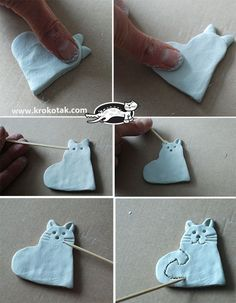 THE LOVE CAT Source by babyblueslvt Related posts: Die Liebeskatzen (Krokotak . - THE LOVE CAT Source by babyblueslvt Related posts: Die Liebeskatzen (Krokotak) H-Cup closure in fro - Polymer Clay Crafts, Diy Clay, Polymer Clay Jewelry, Polymer Clay Christmas, Cat Crafts, Animal Crafts, Art For Kids, Crafts For Kids, Clay Christmas Decorations