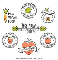 Raw vegan Organic food labels and elements set for food, drink, restaurants, organic products. Raw vegan food Detox logo. Business signs template, concept, logos, identity, labels, badges and objects.
