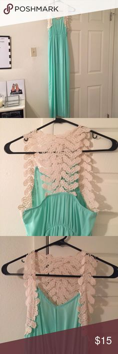 Dress Maxi aqua dress with lace detail. Never been worn! sage Dresses Maxi