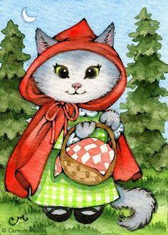 Little Red Riding Kitty ACEO - Carmen Medlin