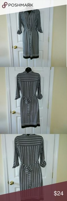 "Ellen Tracy XS black white button down shirt dress 16"" armpit to armpit 13"" across waist 38"" length.  Great condition. Ellen Tracy Dresses"