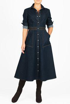 I <3 this Denim trapunto waist midi shirtdress from eShakti