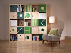 Kallax 5x5, Ikea Expedit, Expedit Regal, Green Rooms, Teen Girl Bedrooms, Shelves, House Design, Organization, Spaces