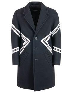 Neil Barrett Modernist Single-breasted Wool-blend Coat In 01 Black Neil Barrett, Single Breasted, Wool Blend, Album, Mens Fashion, Blazer, Coat, Jackets, Shopping