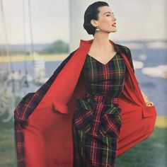 Spectacular plaid dress and matching coat, from a 1950 issue of Vogue Patterns Magazine. #sewingpattern