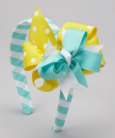 Another great find on #zulily! Aqua & Yellow Polka Dot Bow Headband #zulilyfinds