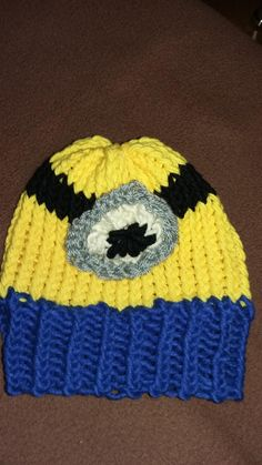 Loom knitted minion hat by Merceline O