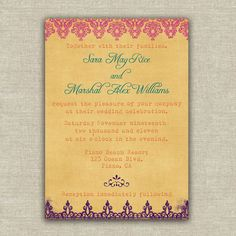 Multi-colored Wedding Invitation
