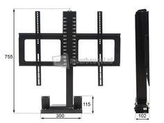 Elektrische TV lift hydraulisch aangedreven met radiografische bediening, slag lengte: 980mm