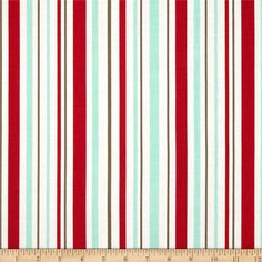 Riley Blake Primrose Garden Stripe Red from @fabricdotcom  Designed by Carina Gardner for Riley Blake, this cotton print is perfect for quilting, apparel and home decor accents.  Colors include red, aqua, olive, and white. Stripe runs parallel to the selvedge as shown.