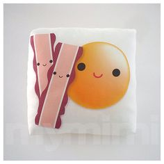 Mini Pillow - Yummy Egg & Bacon ♡ Makes a cute addition to any kids room & is fun to bring along anywhere! Stuffed with soft white polyester, suitable for Food Pillows, Cute Pillows, Throw Pillows, Dyi Pillows, Cute Plush, Playroom Decor, Decorative Pillows, Kids Room, Sewing Projects