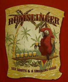 Joe Marlin Rumslinger T-shirt Medium Six Shots Smokin Bird Rum Parrothead Red #JoeMarlin #GraphicTee