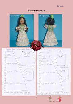 Nancy pattern {in Spanish} Doll Shoe Patterns, Baby Dress Patterns, Clothing Patterns, Hair Yarn, Yarn Wig, Vestidos Nancy, Club Magazine, Nancy Doll, Bordados E Cia