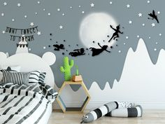 Peter Pan Silhouette Flying with Friends Stars Moon Wallpaper