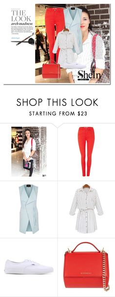 """White striped blouse"" by gold-phoenix ❤ liked on Polyvore featuring BlendShe, River Island, WithChic, Vans and Givenchy"
