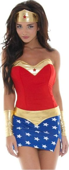Amazon.com: Women's Sexy Wonder Girl Costume S886224 One Size Red/ Blue/ Gold: Clothing