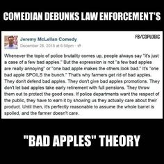 """On police brutality being """"just a few bad apples"""". RT @raganwald: This applies to so many institutions and communities: You have to demonstrate that toxicity will not be tolerated."""