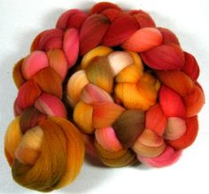 Russetgold 1 Falkland wool top for spinning and by yarnwench, $15.00