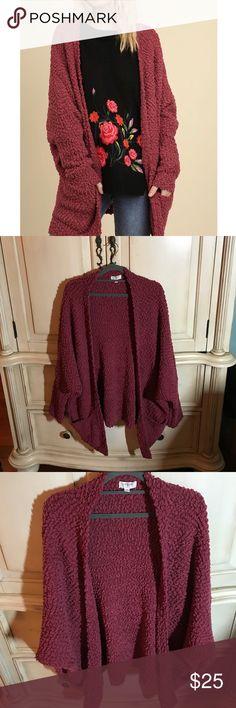 Burgundy Plush Cardigan Sweater by Umgee Comfy burgundy cardigan sweater, worn once, great condition. Umgee Sweaters Cardigans