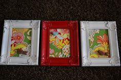fabric filled spray painted frames
