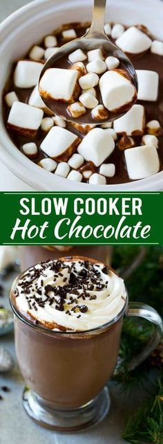 Slow Cooker Hot Chocolate -rich and creamy hot chocolate is perfect for any party or special occasion. Don't forget the marshmallows!