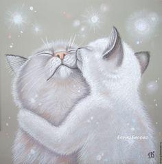 Crazy Cats, I Love Cats, Fluffy Cat, White Cats, Cat Drawing, Cat Gifts, Dog Art, Neko, Cute Art