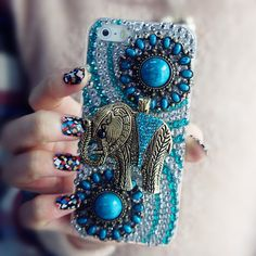 3D Vintage Style TurquoiseCrystal Elephant iPhone by Fashion9shop, $19.99