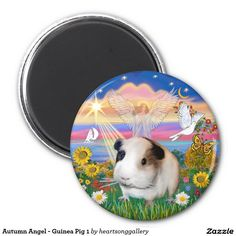 Autumn Angel with an adorable Guinea Pig  - 1 2 Inch Round Magnet (Just sold one of these.  Thank you dear customers.)   Come look at more guinea pig products with original designs by me, Jean B. Fitzgerald.