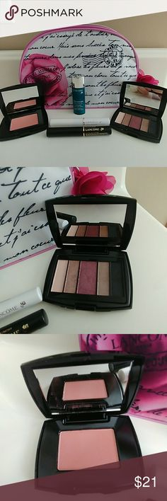 Lancome Bundle NWT Bundle includes: Lancome bag, Blush-sheer amourose, 5 color Eyeshadow - go bold, Visionaire cream, 2 mascara - super enhanceing & high definition. All new. Lancome Makeup