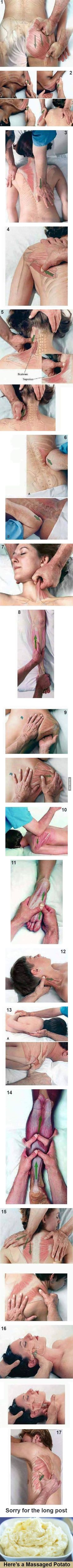 How to give a great massage - 9GAG                                                                                                                                                                                 More Massage Body, Hip Massage, Partner Massage, Sports Massage, Massage Tips, Reflexology Massage, Sciatica Massage, Reflexology Points, Massage Images