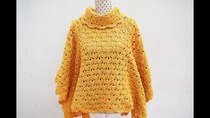 Knitting Patterns Cocoon Poncho or coat of woman to crochet MAJOVEL very easy and fast # easy Poncho Knitting Patterns, Coat Patterns, Clothing Patterns, Fast Crochet, Beginner Crochet, Girls Poncho, Crochet Woman, Crochet Videos, Handarbeit