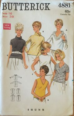 VTG 4881 Butterick 1968 blouse in 2 lengths.  by ThePatternParlor