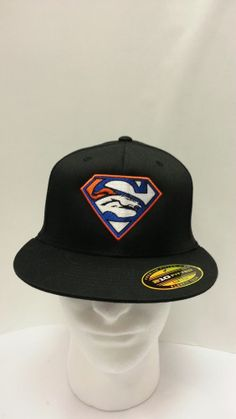 60b31eb8ac9 superman broncos denver hat embroidered on Fitted Flat Bill Hat