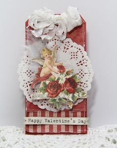 A beautiful Valentine's Day tag by Anne Kristine, the To My Valentine paper collection