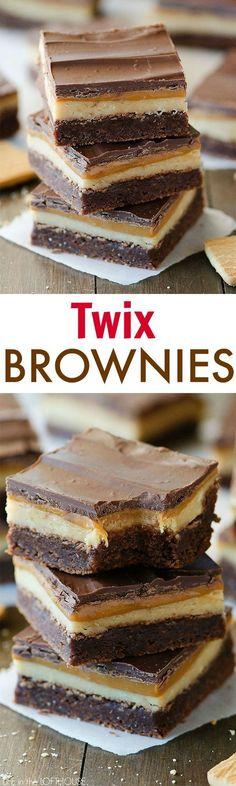 twix brownies, dessert, chocolate, caramel is part of Desserts - Brownie Desserts, Brownie Recipes, Easy Desserts, Cookie Recipes, Delicious Desserts, Dessert Recipes, Yummy Food, Bar Recipes, Health Desserts