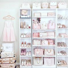 Can you imagine having a shoe and bag closet like this? Me too. 🙌🏼 total closet goals 🙌🏼 ******** So feminine and… Cute Bedroom Ideas, Cute Room Decor, Girl Bedroom Designs, Shabby Chic Bedrooms, Trendy Bedroom, Bag Closet, Pink Closet, Wardrobe Closet, Glam Room