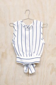 White Striped Open-Back Blouse   NRFB