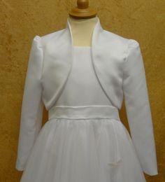 Long Sleeved First Communion Bolero - White Ivory Duchesse satin, Dupion, French Taffeta or Lace Communion Jacket