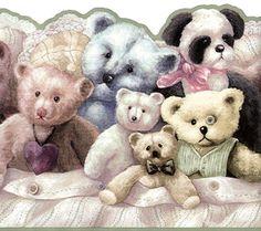 Teddy Bears Panda Stuffed Animal Kid Nursery Olive Green Trim Wall paper Border #IMPERIAL