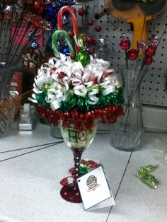 Christmas themed candy bouquet/sundae. ~Sweet Ideas